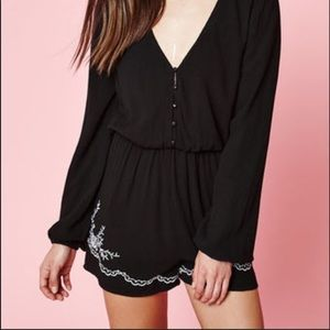 Kendall and Kylie black embroidered romper S